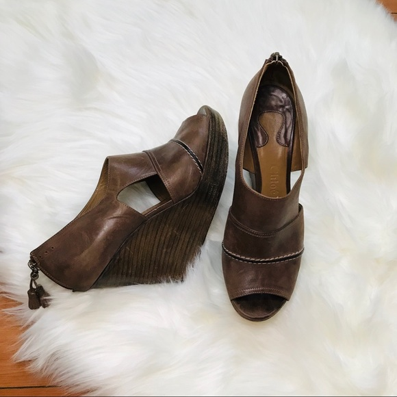 Chloe Shoes - Chloé Brown Leather Boho Wedges 8